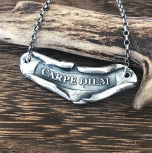 inspiring Latin necklace  'Carpe Diem' 'Seize the day'. Handmade scroll necklace.  positive encouragement.