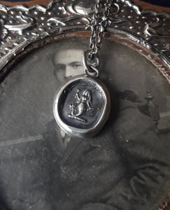 Silver Mermaid pendant. Antique wax letter seal jewelry. Small mermaid charm. Emblem of Eloquence.