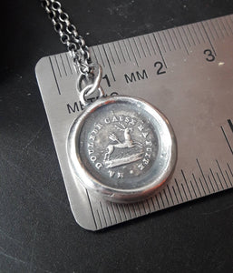 Pain causes me to flee, you wound me. Sterling silver oxidized pendant. Antique wax letter seal. Swalk