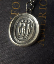 Load image into Gallery viewer, The Three Graces….. Charm, beauty and creativity.  Sterling silver, antiques wax seal impression.