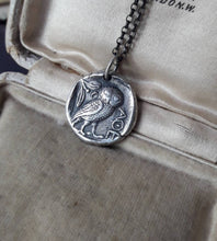 Load image into Gallery viewer, Owl of Minerva, Owl of Athene, goddess warrior. Sterling silver amulet.