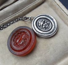 Load image into Gallery viewer, Medusa sterling silver necklace. Antique wax seal, tassie, intaglio. Greek myth, medusa, gorgon.