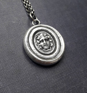Medusa sterling silver necklace. Antique wax seal, tassie, intaglio. Greek myth, medusa, gorgon.