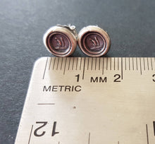 Load image into Gallery viewer, Tiny Sterling Silver, Wax seal impression, antique squirrel stud earrings.