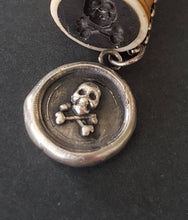 Load image into Gallery viewer, Memento mori Skull and cross bones antique wax seal pendant. Sterling silver handmade pendant.