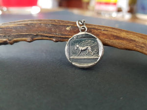 hunting dog and pheasant, wax seal, antique image, sterling silver