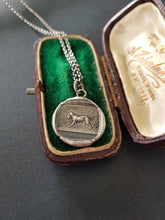 Load image into Gallery viewer, hunting dog and pheasant, wax seal, antique image, sterling silver