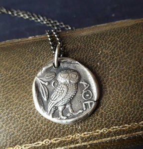 Owl of Minerva, Owl of Athene, goddess warrior. Sterling silver amulet.