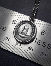Load image into Gallery viewer, My heart beats for you! Antique wax letter seal pendant. Sterling silver, handmade.