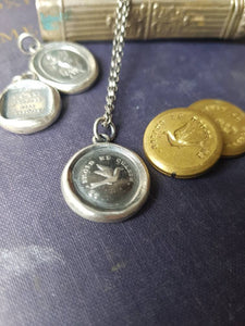 The cold drives me away... Swallow.... le froid me chasse. wax seal sterling pendant.