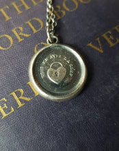 Load image into Gallery viewer, You have the key to my heart. Vous en avez la clef, you have the key (to my heart).  Handmade sterling wax seal pendant.