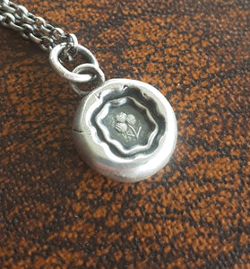 Sterling silver, Shamrock, wax seal amulet. Irish emblem, antique seal impression. Lucky symbol.