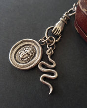 Load image into Gallery viewer, Medusa, snake and hand necklace. Female warrior....Sterling silver with long belcher chain. Handmade medusa necklace