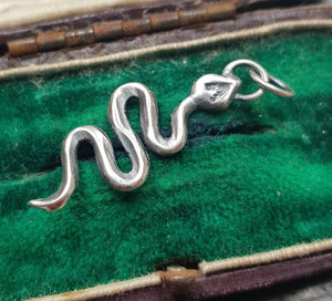 Handmade snake charm, sterling silver add in for your meaningful necklace.