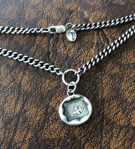 Solid sterling silver curb chain to hang your SWALK amulets. 4mm with lobster clasp.  Oxidized and hand polished.