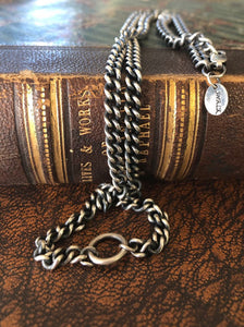Sterling silver curb chain.  Large loop to hang youe amulet, charm, treasure. made to order to your size.