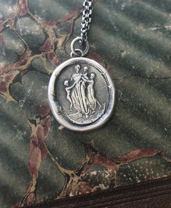 Motherhood, family.  Ideal Roman family portrait.  Antique wax letter seal pendant. Sterling wax seal impression