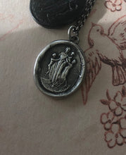 Load image into Gallery viewer, Motherhood, family.  Ideal Roman family portrait.  Antique wax letter seal pendant. Sterling wax seal impression