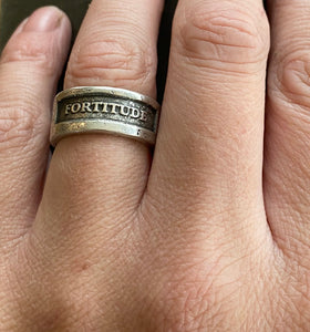 Fortitude Ring.  Sterling silver handmade textured ring made to order in your size.