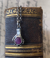 Load image into Gallery viewer, Sterling, tiny hand sculpture hold raw natural ruby crystal. handmade pendant, sterling silver