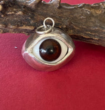 Load image into Gallery viewer, Sterling silver handmade glass eyeball pendant  necklace.  Gentle brown glass  eyeball.