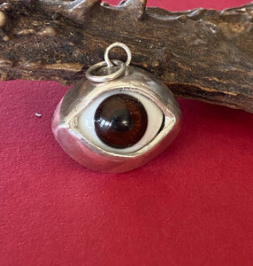Sterling silver handmade glass eyeball pendant  necklace.  Gentle brown glass  eyeball.