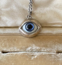 Load image into Gallery viewer, Sterling silver handmade glass eyeball pendant  necklace.  Deep ocean blue glass  eyeball.