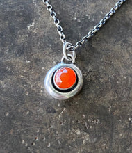 Load image into Gallery viewer, Orange Carnelian Faceted Add ON. add some colour to your meaningful necklace. 6mm orange carnelian set  in a nugget of sterling silver.