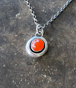 Orange Carnelian Faceted Add ON. add some colour to your meaningful necklace. 6mm orange carnelian set  in a nugget of sterling silver.