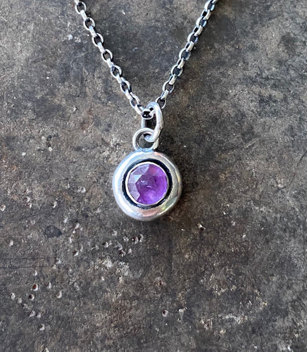 Faceted Amethyst Cabochon Add on. add some colour to your meaningful necklace. 6mm faceted amethyst  set  in a nugget of sterling silver.