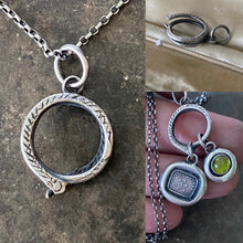 Load image into Gallery viewer, Sterling silver snake charm holder.  Ouroboros meaningful amulet holder.  Victorian fob amulet holder.