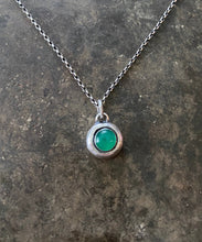 Load image into Gallery viewer, Green Onyx and sterling silver Add ON. add some colour to your meaningful necklace. 6mm green onyx set  in a nugget of sterling silver.