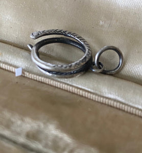 Sterling silver snake charm holder.  Ouroboros meaningful amulet holder.  Victorian fob amulet holder.