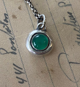 Green Onyx and sterling silver Add ON. add some colour to your meaningful necklace. 6mm green onyx set  in a nugget of sterling silver.