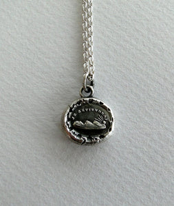 Je Reviendrai... I will return, setting sun, Antique wax seal impression, sterling silver pendant and chain