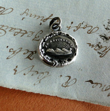 Load image into Gallery viewer, Je Reviendrai... I will return, setting sun, Antique wax seal impression, sterling silver pendant and chain