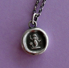 Load image into Gallery viewer, Silver Mermaid pendant. Antique wax letter seal jewelry. Small mermaid charm. Emblem of Eloquence.