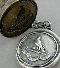 Load image into Gallery viewer, Faith is my Strength..... wax seal jewelry, Sterling silver necklace, religious jewelry, handmade amulet, talisman dove of peace and virtue.