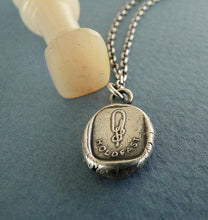 Load image into Gallery viewer, Hold Fast...... sailor's knot. Antique  Wax seal pendant, sterling silver.......