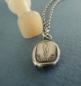Hold Fast...... sailor's knot. Antique  Wax seal pendant, sterling silver.......