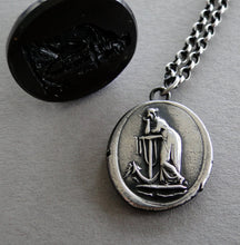 Load image into Gallery viewer, hope Sustains..... lady and anchor, wax seal impression, sterling silver, faith and hope