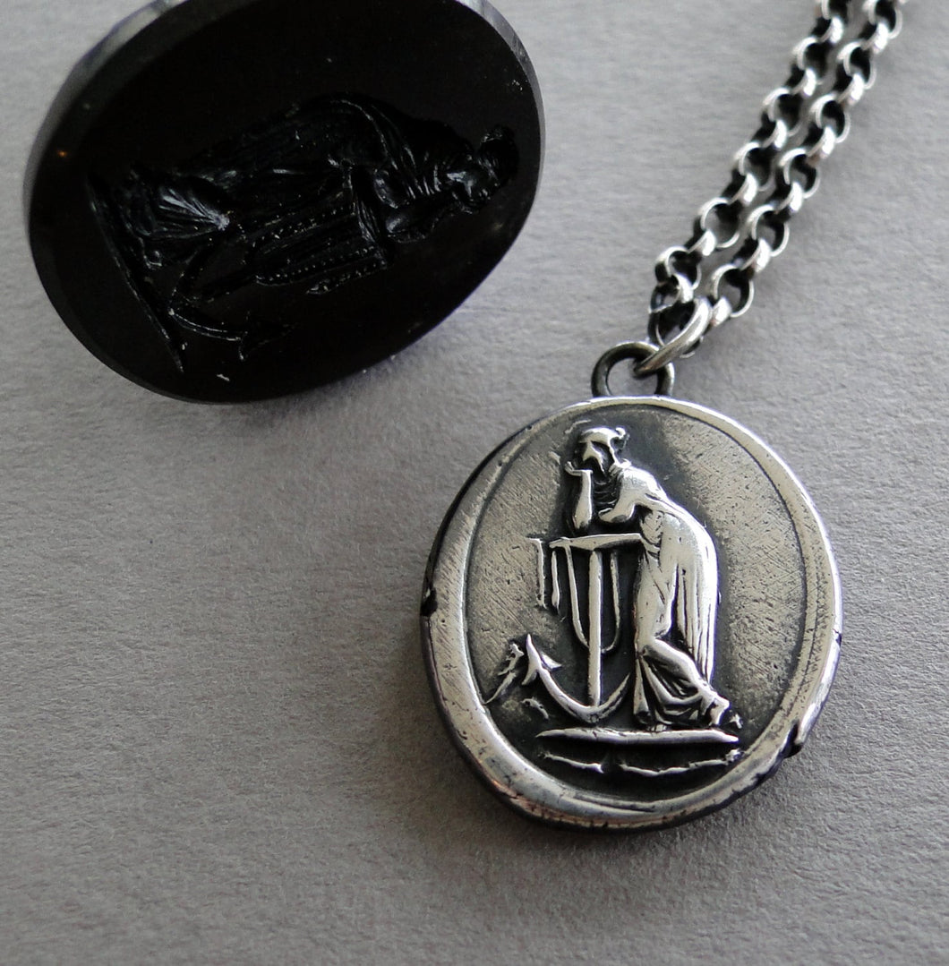 hope Sustains..... lady and anchor, wax seal impression, sterling silver, faith and hope