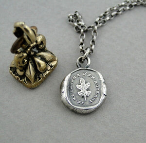 I remain steadfast'…… Antique wax seal impression, pendant and chain 100% sterling silver.
