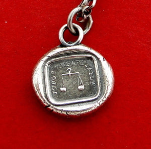 judge impartially..... antique wax seal, sterling silver, necklace, motto