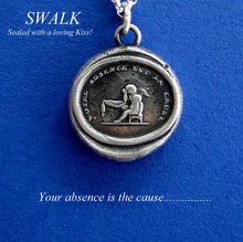 Load image into Gallery viewer, Wax seal impression, sterling silver, sentimental motto, necklace, cupid crying over lost love, loneliness, your absence, handmade charm