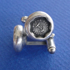 Proved by the Storm cufflinks .... antique wax seal, sterling silver, survivor, succeed, successful emblem