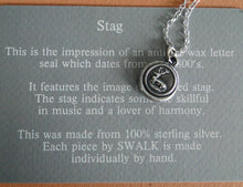 Load image into Gallery viewer, Stag..... musician and a lover of harmony.... antique wax letter seal, sterling silver,  necklace, amulet, meaningful jewelry, , symbolic