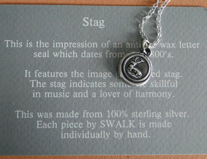 Stag..... musician and a lover of harmony.... antique wax letter seal, sterling silver,  necklace, amulet, meaningful jewelry, , symbolic