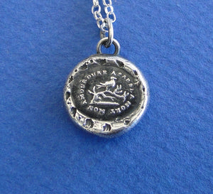Love everlasting.... 'My love will endure after death.'.... antique wax letter seal pendant, sterling.