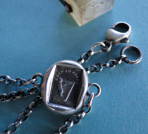 Bracelet with Antique Wax seal Amulet,    Erin Go Bragh,   various sizes, sterling silver.